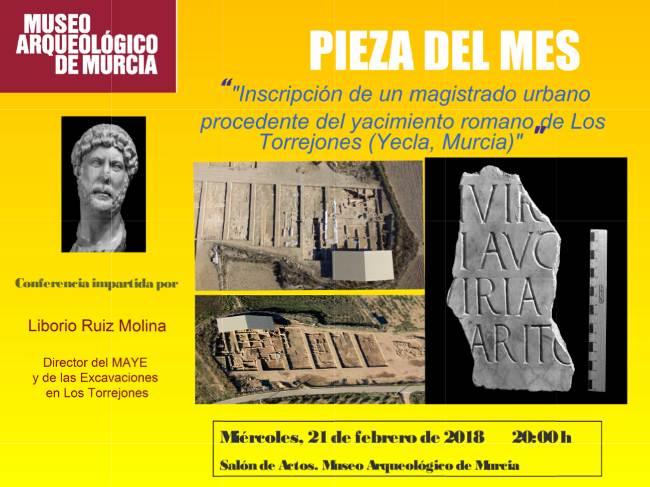 Pieza del Mes en esta ocasión dedicada al yacimiento romano de Los Torrejones en Yecla.