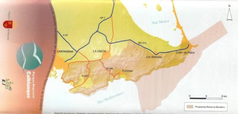 mapa parque regional calblanque y sierras mineras