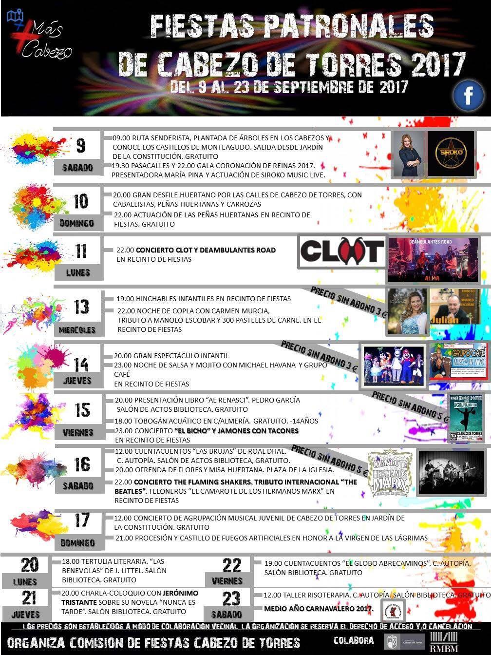Progrmacion Fiestas Cabezo de torres 2017