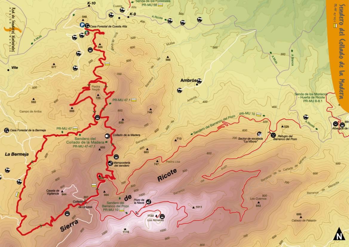 mapa-Sendero del Collado de la Madera de Ricote-PR-MU-47