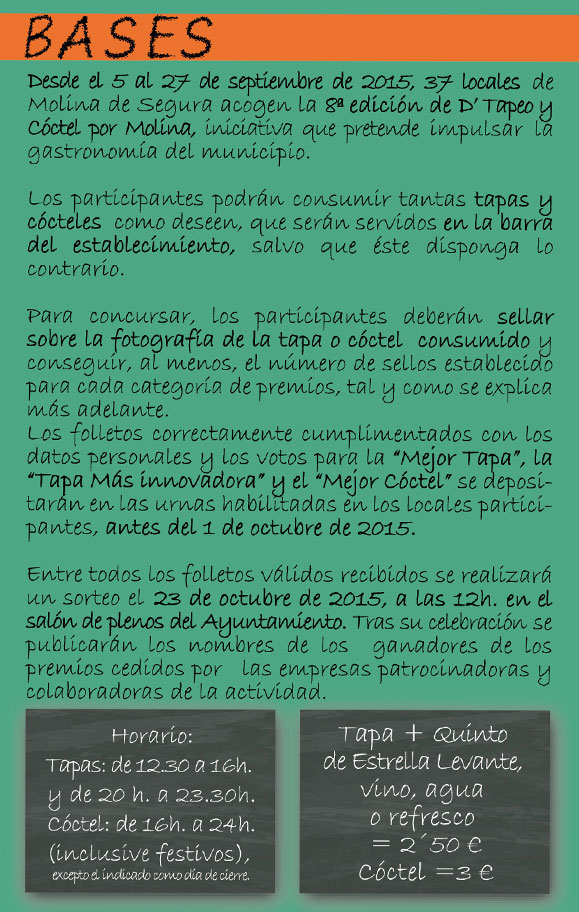 Ruta de la Tapa y Coctel Molina de Segura 2015