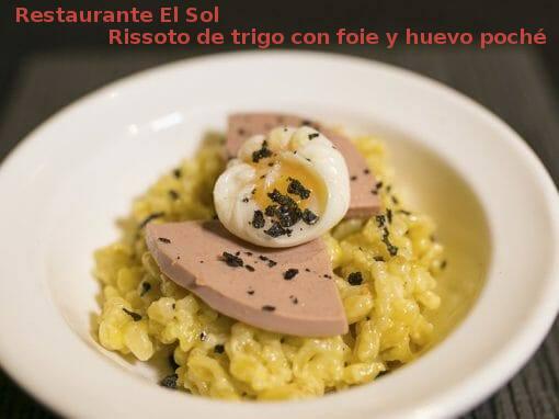 Rissoto de trigo con foie y huevo poché en Restaurante El Sol- X ruta Tapa y el cóctel de Cehegín