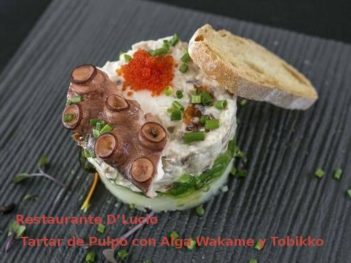 TTapa Tartar de Pulpo con Alga Wakame y Tobikko en Restaurante D'Lucio- X ruta Tapa y el cóctel de Cehegín