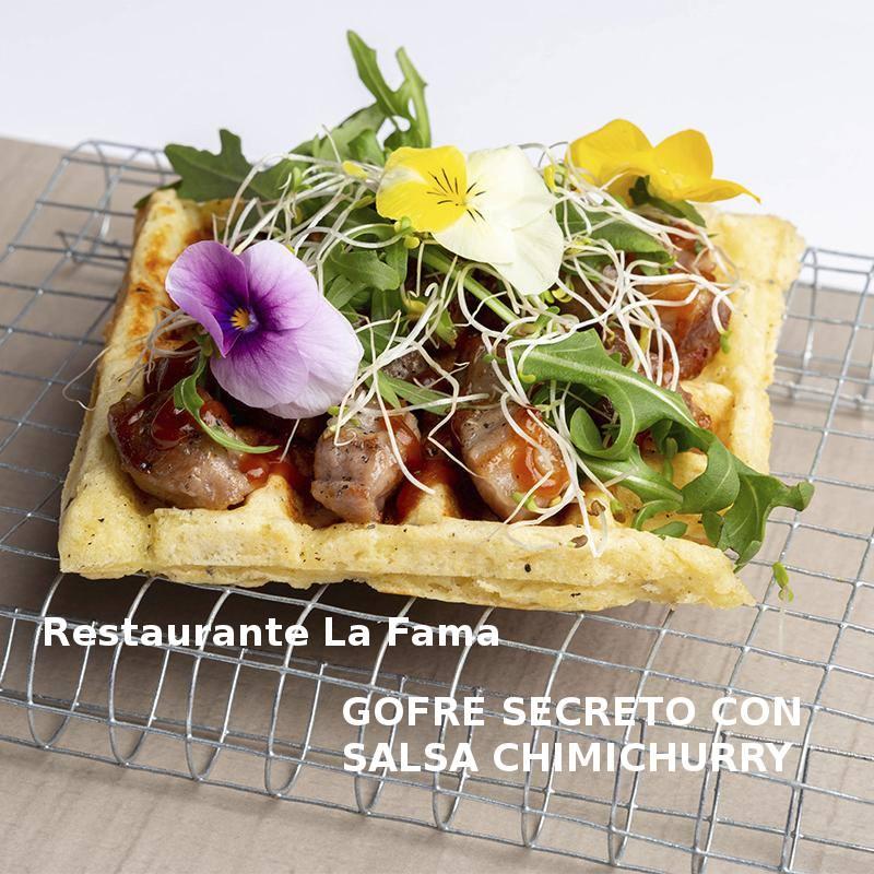 Tapa GOFRE SECRETO CON SALSA CHIMICHURRY en Restaurante La Fama- X ruta Tapa y el cóctel de Cehegín