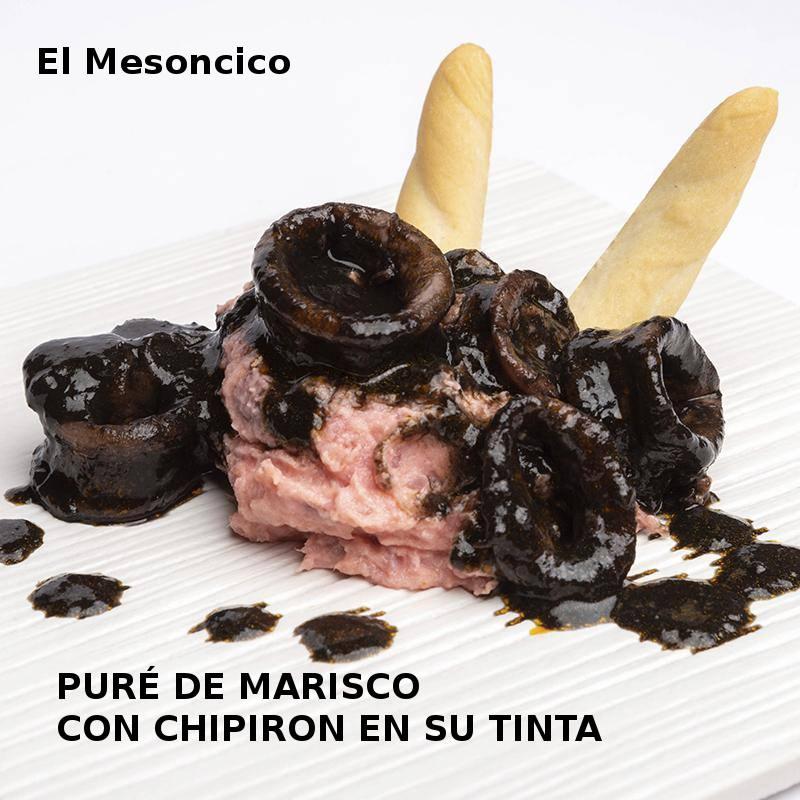 PURÉ DE MARISCO CON CHIPIRON EN SU TINTA en El Mesoncico- XI ruta Tapa y el cóctel de Cehegín 2019