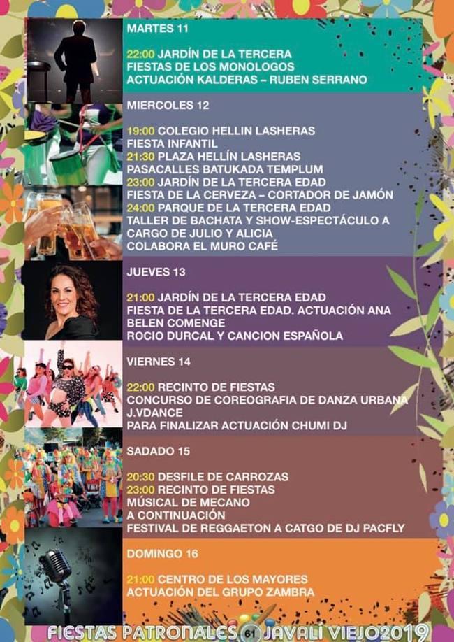 Programa Fiestas patronales Javalí Viejo 2019