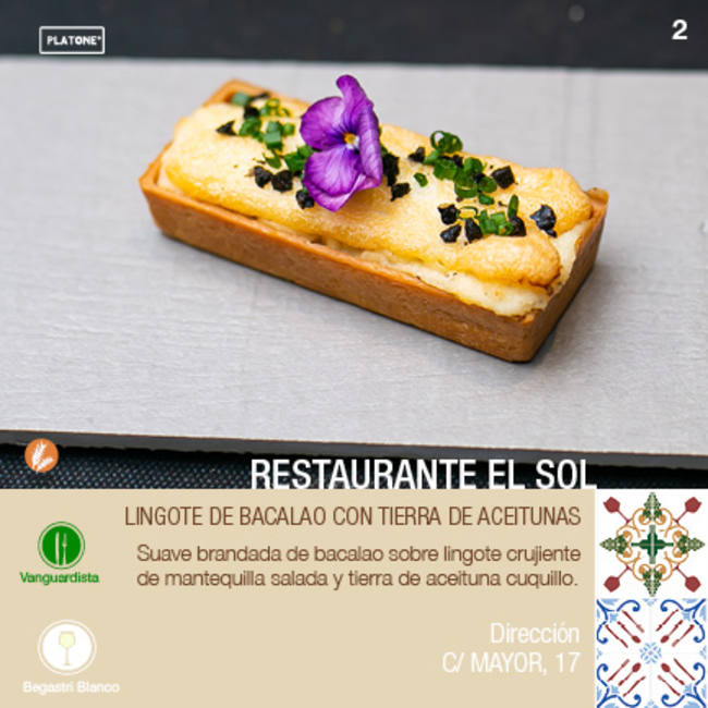 LINGOTE DE BACALAO CON TIERRA DE ACEITUNAS en Restaurante El Sol- XII ruta Tapa y el cóctel de Cehegín 2020