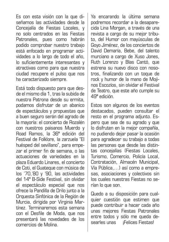 Programa Fiestas de Molina de Segura 2018