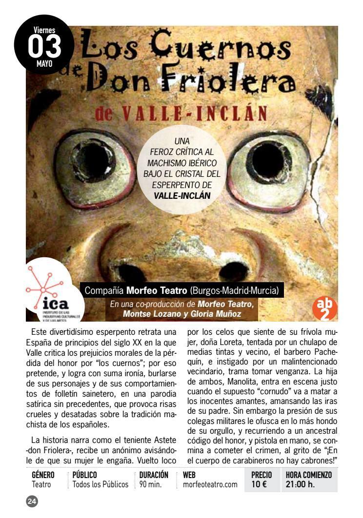 Programa Teatro Villa de Molina Febrero a Junio 2019