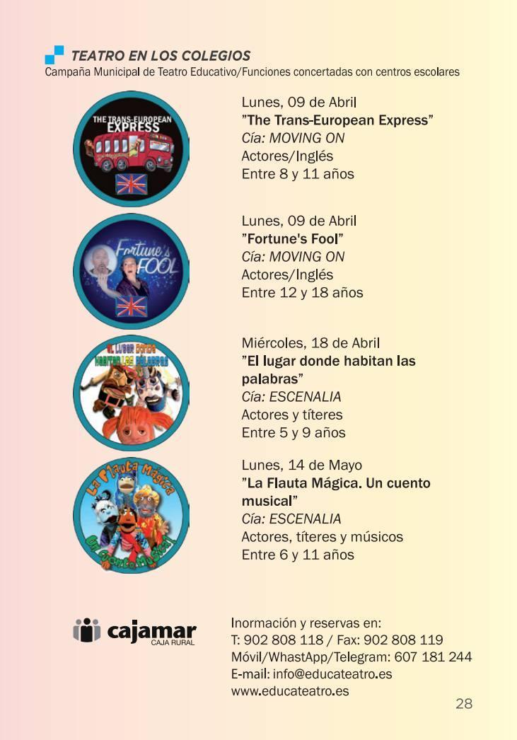 Programación Teatro Guerra de Lorca Enero-Mayo 2018