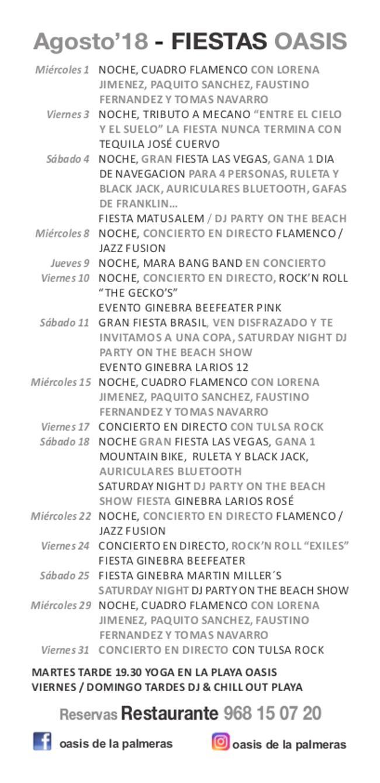 programación Oasis de las palmeras en bolnuevo agosto 2018