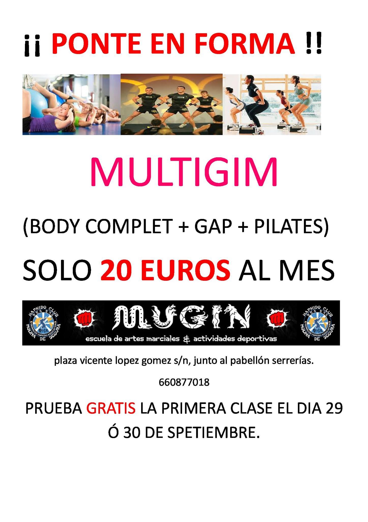 Body Complet +Gap + Pilates. en Escuela Mugin