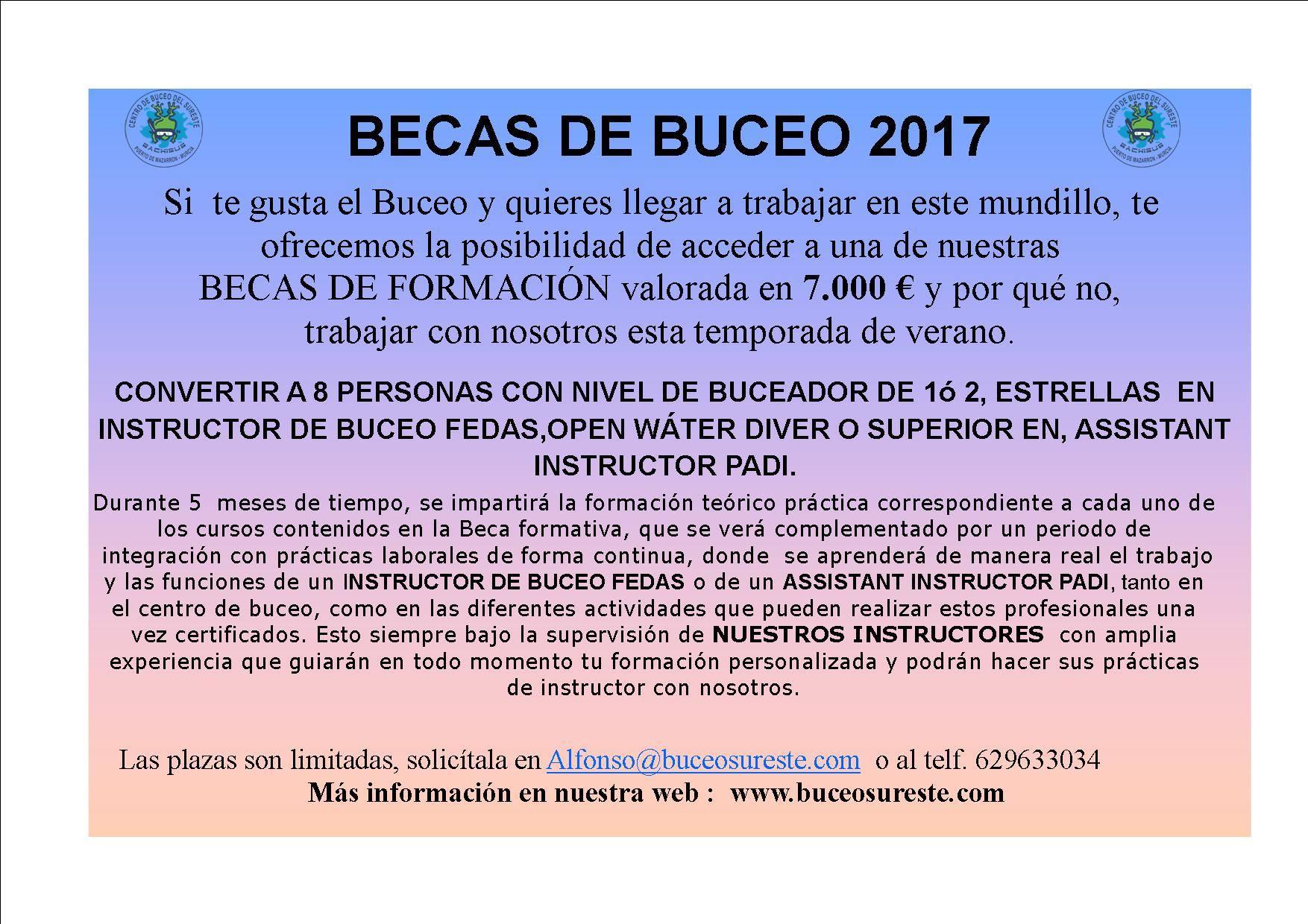 BECAS DE BUCEO 2017 Centro de Buceo del Sureste
