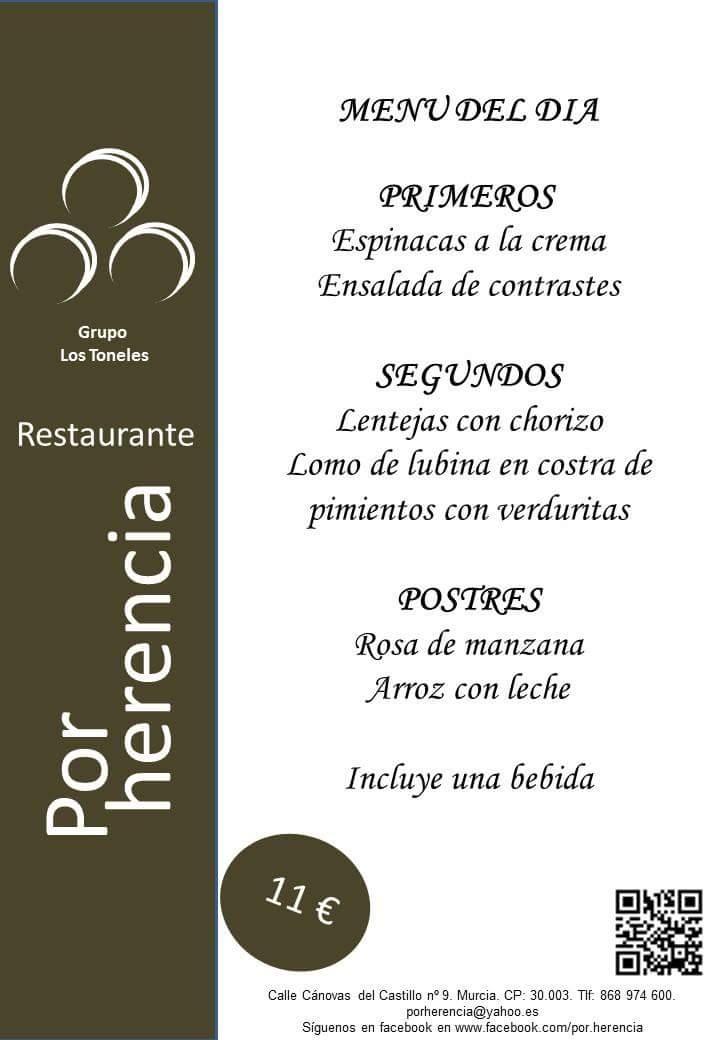 Menu del Día Restaurante Por Herencia